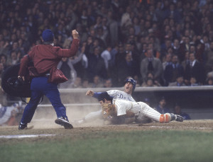 Major League Baseball 1977 World Series: New York Yankees catcher Thurman Munson #15 in action, with tag out vs Los Angeles Dodgers Steve Garvey #6. Bronx, NY Credit: John G. Zimmerman SetNumber: D93503